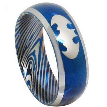 *COI Tungsten Carbide Blue Silver Batman Damascus Ring - TG3853
