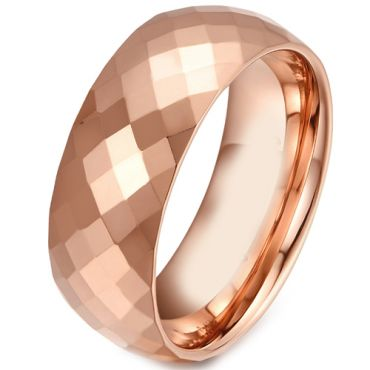 COI Rose Tungsten Carbide Faceted Wedding Band Ring - TG281
