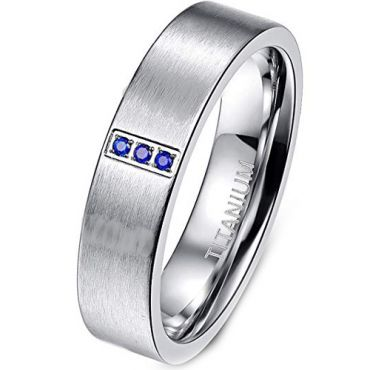 COI Titanium Pipe Cut Ring With Created Sapphire - JT2848AA