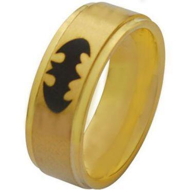 **COI Gold Tone Titanium Batman Step Edges Ring - JT2882A