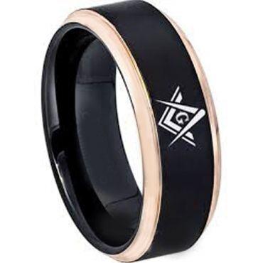 *COI Titanium Black Rose Masonic Step Edges Ring - 2865