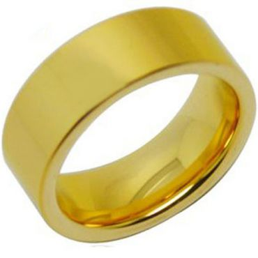**COI Gold Tone Tungsten Carbide Polished Shiny Pipe Cut Flat Ring - TG288AA