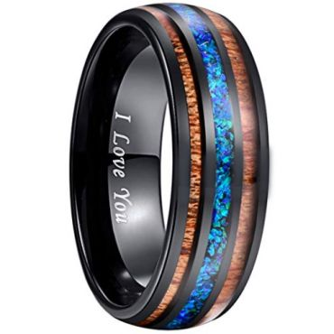 COI Black Tungsten Carbide Crushed Opal and Wood Ring - 2897
