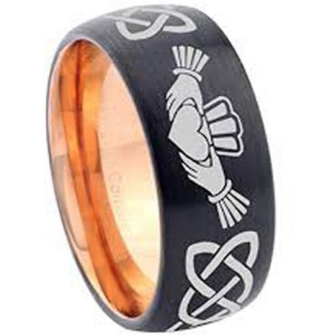 COI Tungsten Carbide Black Rose Mo Anam Cara Celtic Ring-2899