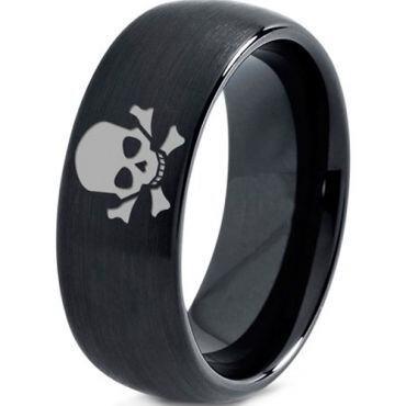 COI Black Tungsten Carbide Skull & Bones Dome Court Ring-2920