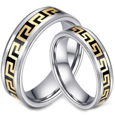 COI Tungsten Carbide Gold Tone Greek Key Ring-TG2956
