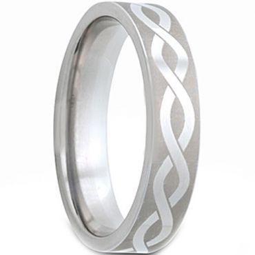 *COI Tungsten Carbide Infinity Pipe Cut Flat Ring - TG2978
