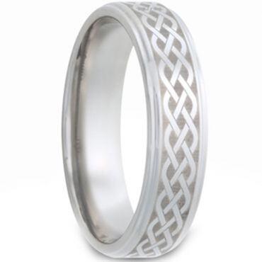 *COI Tungsten Carbide Celtic Step Edges Ring - TG2979