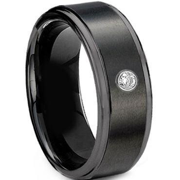 COI Black Tungsten Carbide Ring With Genuine Diamond - 2981