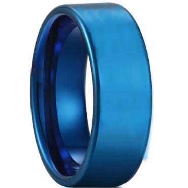 COI Blue Tungsten Carbide Pipe Cut Flat Ring - TG2986A