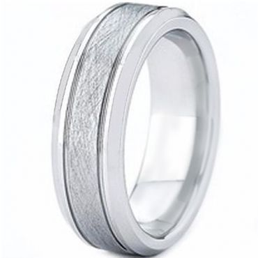 COI Tungsten Carbide Sandblasted Double Lines Ring-TG2425