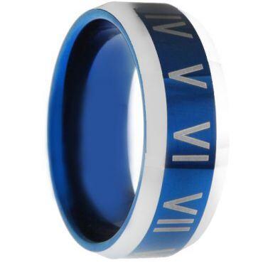 COI Tungsten Carbide Blue Silverr Roman Numerals Ring-3006