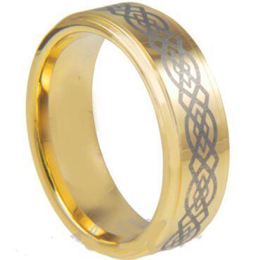 COI Gold Tone Tungsten Carbide Celtic Ring - TG3028