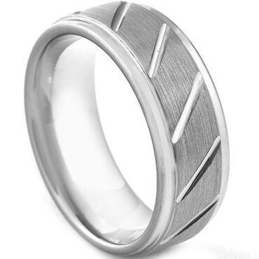 **COI Tungsten Carbide Diagonal Grooves Step Edges Ring-TG3045