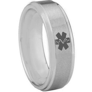 COI Tungsten Carbide Medic Alert Step Edges Ring-3056