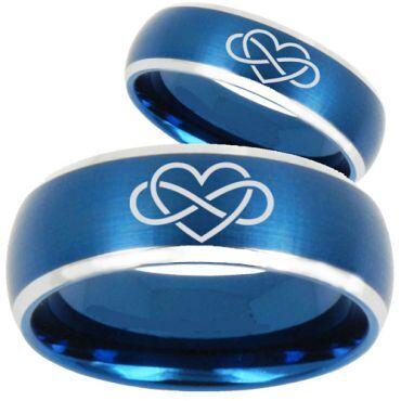 *COI Titanium Blue Silver Infinity Heart Beveled Edges Ring - 3063