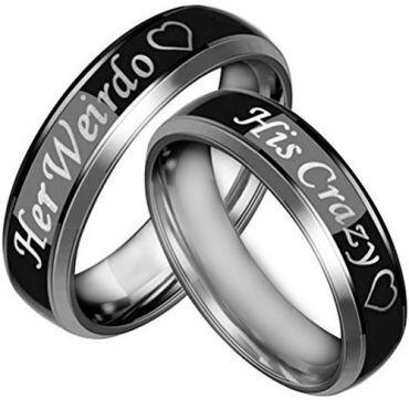 *COI Tungsten Carbide His Crazy Her Weirdo Ring-TG3067AA