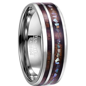 COI Tungsten Carbide Wood & Abalone Shell Dome Court Ring-TG3085