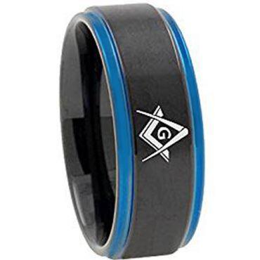 COI Tungsten Carbide Black Blue Masonic Step Edges Ring-TG3092AA