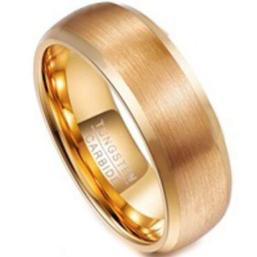 COI Gold Tone Tungsten Carbide Beveled Edges Ring - TG3108