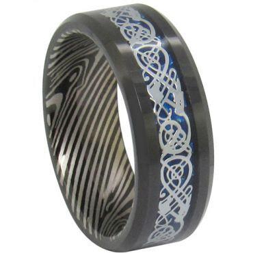 COI Black Tungsten Carbide Damascus Dragon Ring - TG1819AA