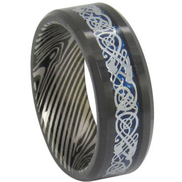 COI Black Titanium Damascus Dragon Beveled Edges Ring - JT3139A