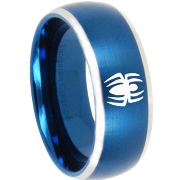 COI Tungsten Carbide Blue Silver Spiderman Ring - TG3161