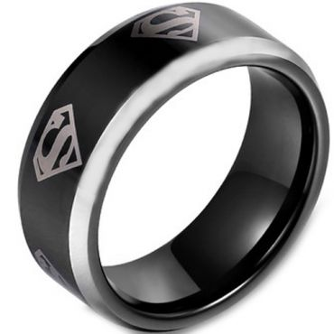 **COI Titanium Black Silver Superman Beveled Edges Ring - JT3161