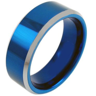 COI Tungsten Carbide Blue Silver Beveled Edges Ring - TG3809