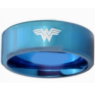 COI Blue Titanium Wonder Woman Pipe Cut Flat Ring - 3175