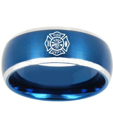 *COI Titanium Blue Silver Fire Fighter Beveled Edges Ring - 3187