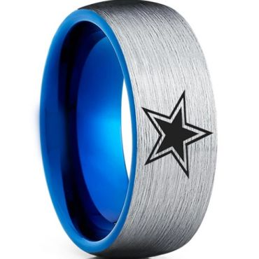 COI Tungsten Carbide Blue Silver Star Dome Court Ring-3198