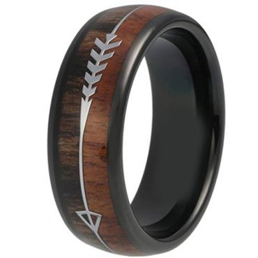 COI Black Tungsten Carbide Wood Ring With Arrows - TG319BB