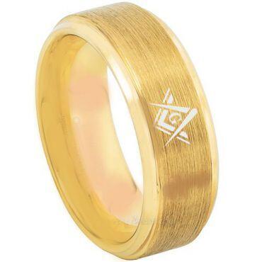 *COI Gold Tone Titanium Masonic Dome Court Ring - 3216