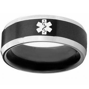 COI Tungsten Carbide Medic Alert Beveled Edges Ring-TG5137