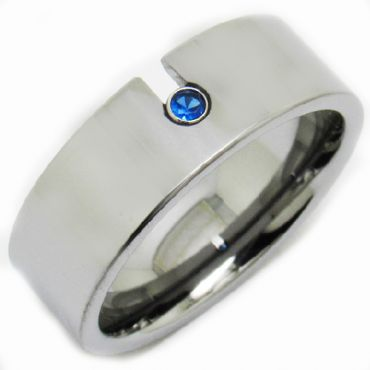 COI Tungsten Carbide Ring With Created Blue Sapphire - TG3231