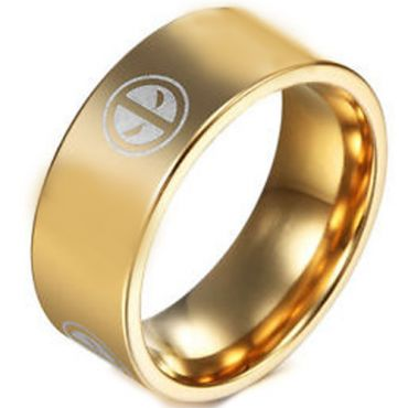 COI Gold Tone Tungsten Carbide DeadPool Pipe Cut Ring-TG3261BB
