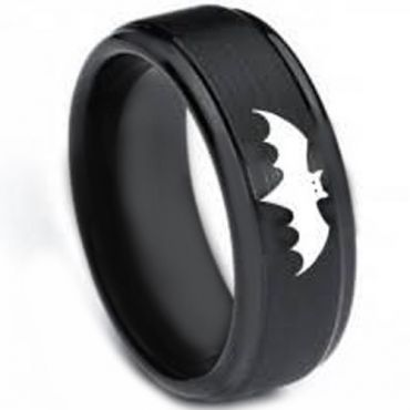 COI Black Tungsten Carbide Batman Step Edges Ring-TG3264