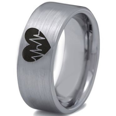*COI Tungsten Carbide Heartbeat & Heart Pipe Cut Ring-TG3302