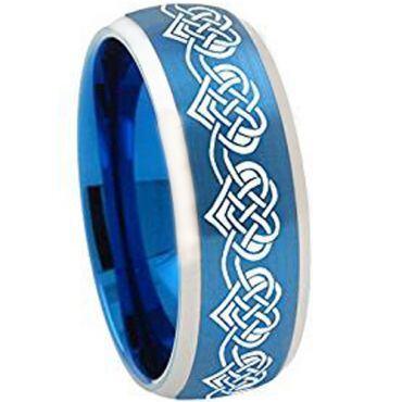 *COI Tungsten Carbide Blue Silver Heart Ring - TG3309AA