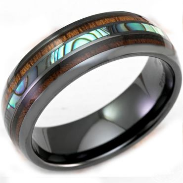 COI Black Titanium Dome Court Abalone Shell & Wood Ring-3315