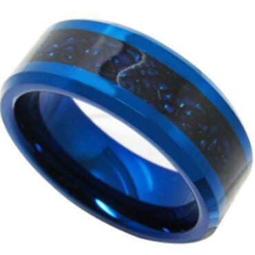 COI Titanium Blue Black Dragon Beveled Edges Ring - JT3353