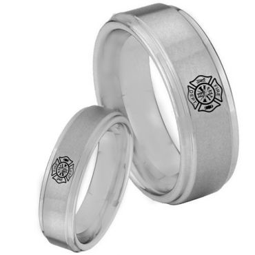COI Tungsten Carbide Firefighter Step Edges Ring - 3360