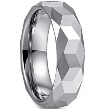 COI Tungsten Carbide Faceted Wedding Band Ring - TG3363
