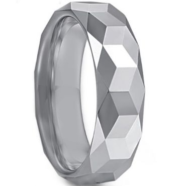 COI Tungsten Carbide Faceted Wedding Band Ring - TG3363