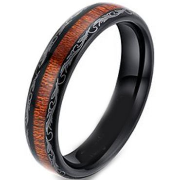 COI Black Titanium Damascus Wood Dome Court Ring-3370