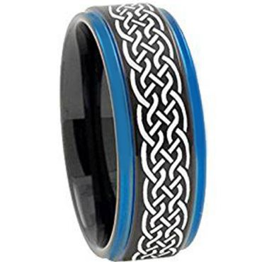 COI Tungsten Carbide Black Blue Celtic Ring-TG3400