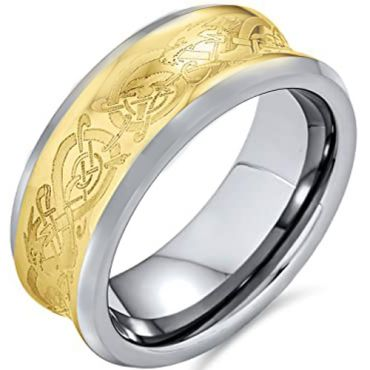 COI Titanium Gold Tone Dragon Concave Ring - JT3402