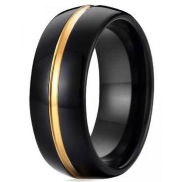 *COI Titanium Black Gold Tone Center Groove Ring - JT3451