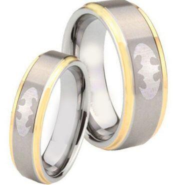 **COI Tungsten Carbide Gold Tone Silver Batman Ring - TG4277